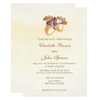 el boda de la caída de las hojas del roble de las invitación 12,7 x 17,8 cm