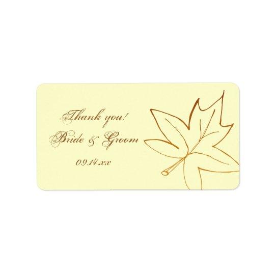 El boda de la hoja de arce del otoño le agradece etiquetas de dirección