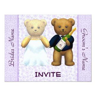 El boda de la lila de los osos de peluche invita a invitación 10,8 x 13,9 cm