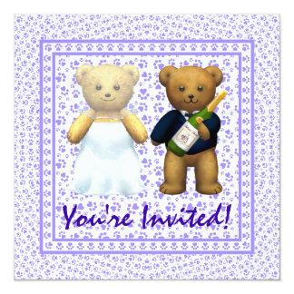 , El boda de la lila de los osos de peluche invita Invitación 13,3 Cm X 13,3cm