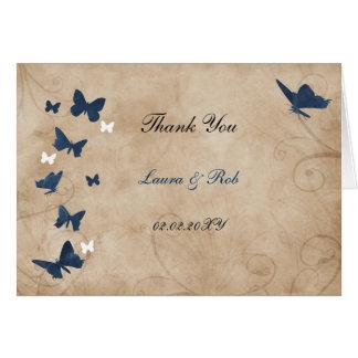el boda de la mariposa del vintage le agradece tarjeta