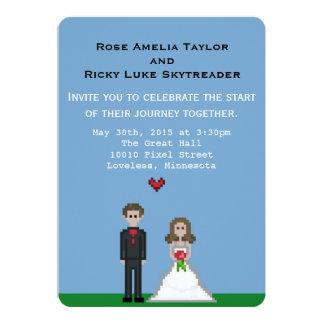 El boda de la novia y del novio del pixel invita invitación 12,7 x 17,8 cm