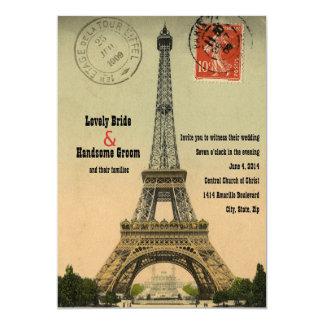 El boda de la torre Eiffel de la postal de París Invitación 12,7 X 17,8 Cm