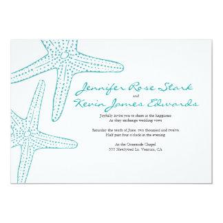 El boda de las estrellas de mar de la turquesa invitación 12,7 x 17,8 cm