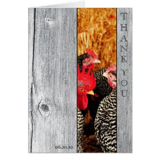 El boda de madera del granero del país le agradece tarjeta pequeña