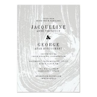 El boda de madera rústico moderno clásico del invitación 12,7 x 17,8 cm