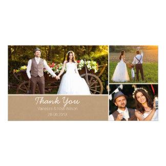 El boda de papel de Kraft le agradece tarjeta de