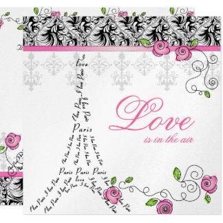 El boda de París invita a blanco rosado del negro Invitación 13,3 Cm X 13,3cm