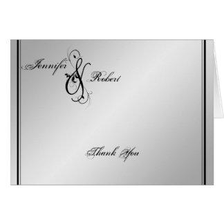 El boda de plata de la elegancia le agradece tarjeta de felicitación