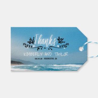El boda de playa azul le agradece etiquetas para regalos