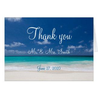 El boda de playa azul le agradece las tarjetas