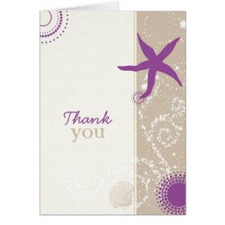 El boda de playa de color topo púrpura le agradece tarjeta pequeña