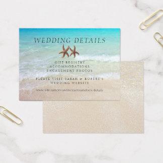 El boda de playa de dos estrellas de mar detalla tarjeta de visita