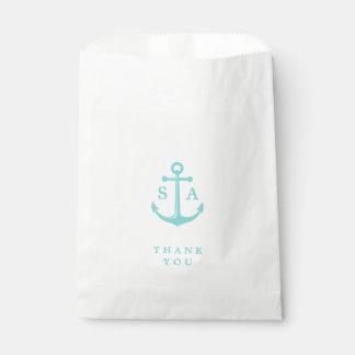 El boda de playa náutico del monograma del ancla bolsa de papel