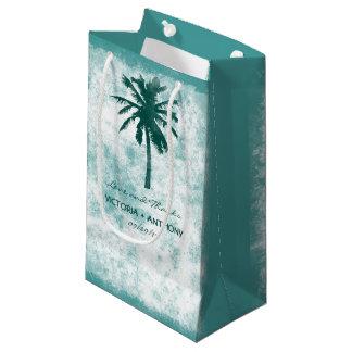 El boda de playa tropical de la palmera le bolsa de regalo pequeña