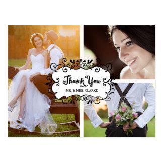 El boda del collage de tres fotos le agradece postal