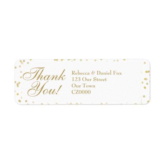 El boda del confeti del polvo de oro le agradece etiquetas de remite