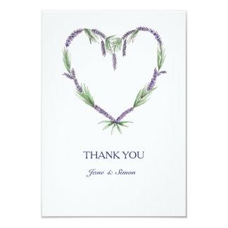 El boda del corazón de la lavanda le agradece invitación 8,9 x 12,7 cm