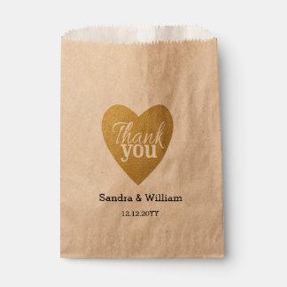 El boda del corazón del brillo del oro le agradece bolsa de papel