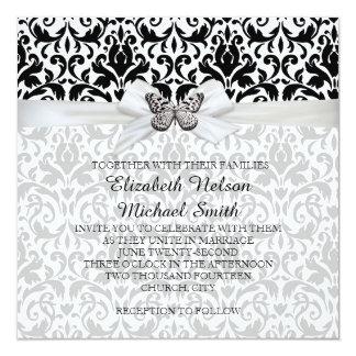 El boda del damasco de la cinta de la mariposa invitación 13,3 cm x 13,3cm