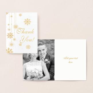 El boda del invierno del copo de nieve le agradece tarjeta con relieve metalizado
