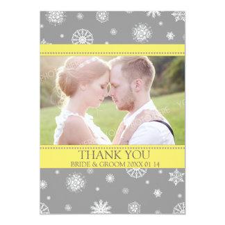 El boda del invierno le agradece amarillo gris de invitación 12,7 x 17,8 cm