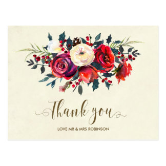 el boda del invierno le agradece las bayas de los postal