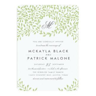 El boda del jardín secreto invita - a verde invitación 12,7 x 17,8 cm