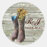 el boda del país occidental de las botas de vaquer pegatina redonda