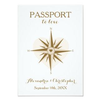 El boda del pasaporte invita - a tema del viaje invitación 12,7 x 17,8 cm