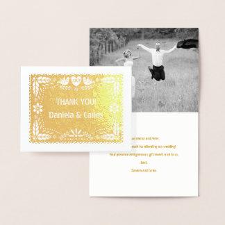 El boda del picado de Papel le agradece oro de la Tarjeta Con Relieve Metalizado