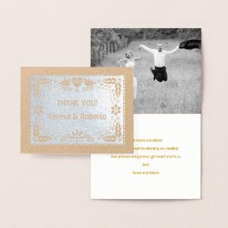 El boda del picado de Papel le agradece plata de Tarjeta Con Relieve Metalizado