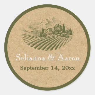 El boda del viñedo y del corcho del vintage ahorra pegatina redonda
