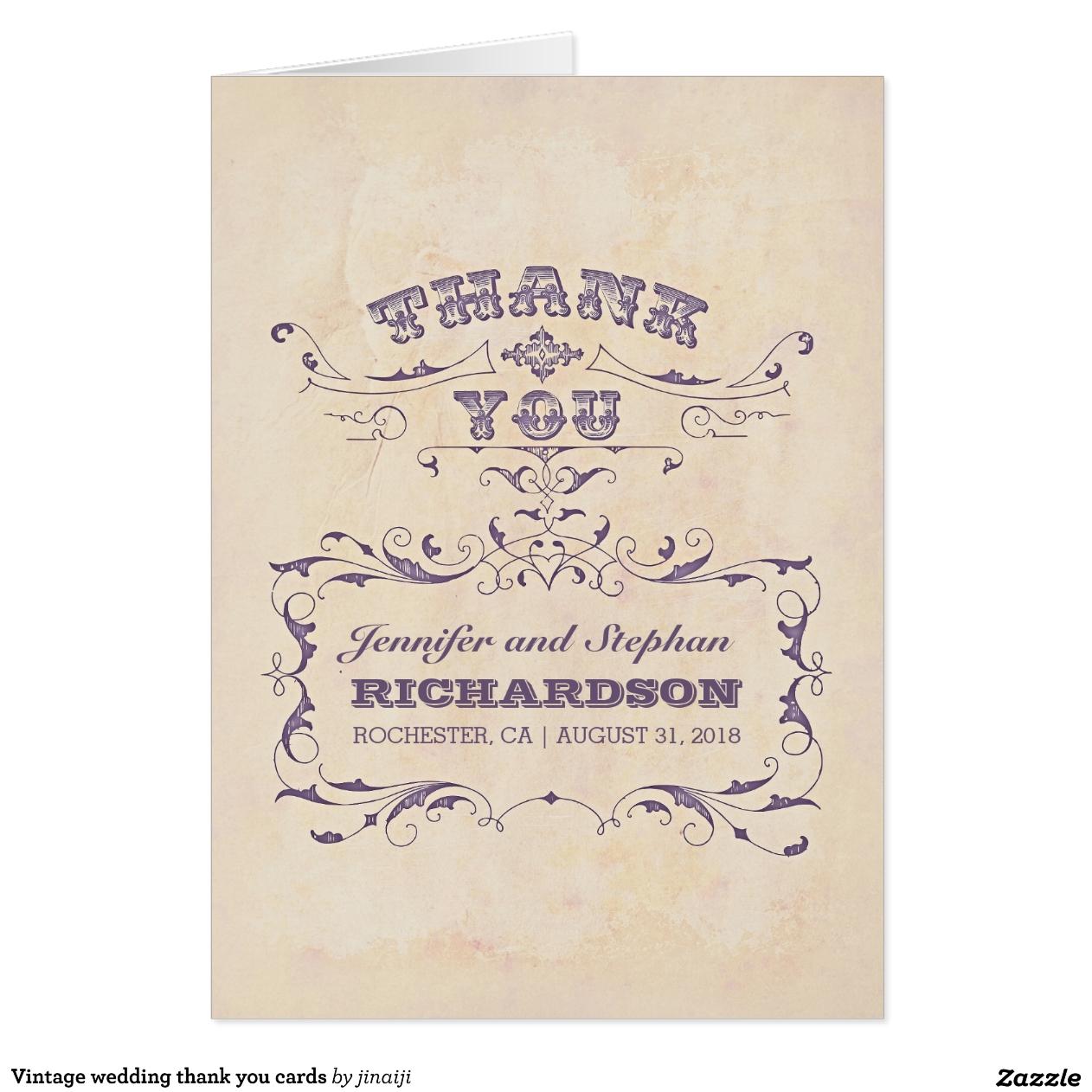 Boda del vintage le agradece las tarjetas