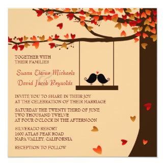 El boda descendente del roble de los corazones de invitación 13,3 cm x 13,3cm