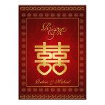 El boda doble chino de la felicidad invita invitación 12,7 x 17,8 cm