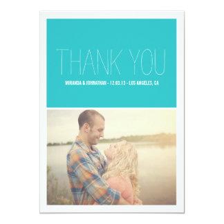 El boda elegante azul de la foto le agradece las invitación 12,7 x 17,8 cm