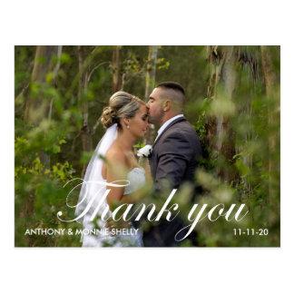 El boda elegante de 2 fotos con las notas le postal