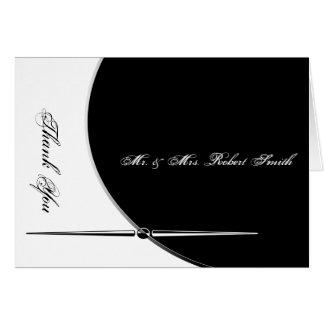 El boda elegante del círculo moderno blanco negro tarjeta pequeña