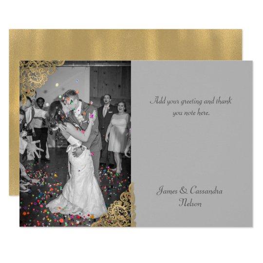 El boda elegante del gris y del oro le agradece invitación 12,7 x 17,8 cm