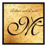 El boda elegante del monograma del oro del vintage invitación 13,3 cm x 13,3cm