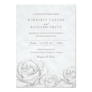 El boda elegante gris floral de los rosas del invitación 12,7 x 17,8 cm