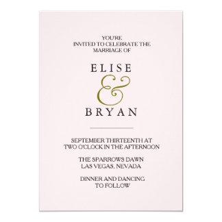 El boda elegante moderno del melocotón invita invitación 12,7 x 17,8 cm