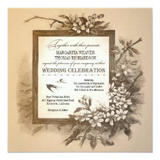 el boda elegante único tipográfico del vintage invitación 13,3 cm x 13,3cm
