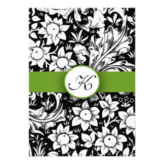 el boda elegante verde del monograma del damasco i invitaciones personalizada