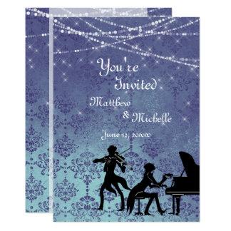 El boda encantado de la música clásica del vintage invitación 12,7 x 17,8 cm