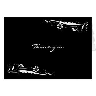 El boda floral blanco negro le agradece las tarjeta pequeña