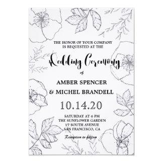 El boda floral botánico a mano del marco invita invitación 12,7 x 17,8 cm