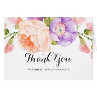 El boda floral de la acuarela elegante le agradece tarjeta de felicitación