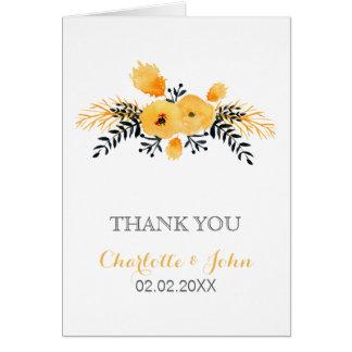 el boda floral de la acuarela gris amarilla le tarjeta de felicitación